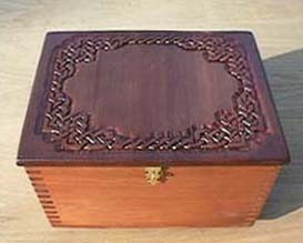 Carved Celtic knotwork box