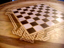 Celtic knot chess table detail