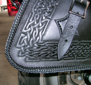 Celtic knot motorcycle saddlebag