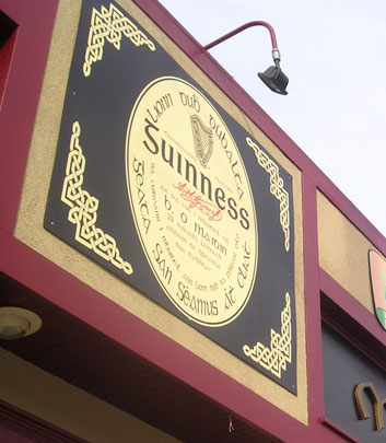 Vinyl cut pub sign with Celtic knots